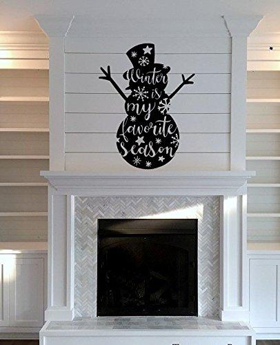 - Snowman Silhouette Winter Is My Favorite Season Vinyl Wall Words Decal Sticker Graphic
