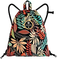 Drawstring Backpack with Wet Pocket Sport Gym String Bag Sackpack Water Resistant Nylon for Women Men Children