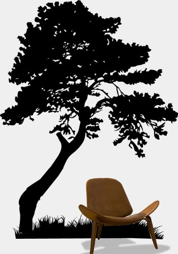 Stickerbrand nature vinyl wall art huge tree leaves grass wall decal sticker multiple colors available