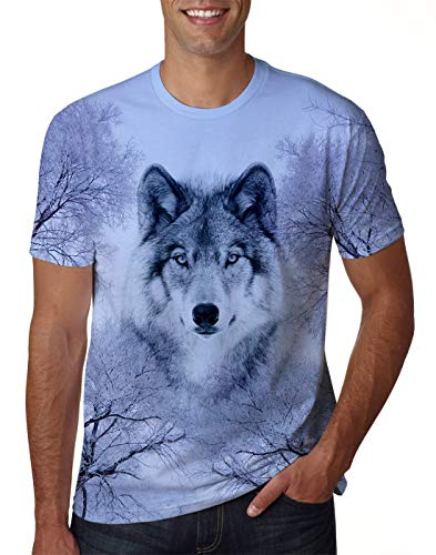 (Uideazone Teen Boys Girls Printed Wolf Short Sleeve T-Shirt Cool Graphic Tee Shirt Small )