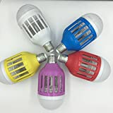 2 IN 1 Colorful Mosquito Zapper LED Light Bulb,Mosquito Repellent,Bug Killer Lamp Trap and Zap Fly Insects for Indoor Outdoor,UV Lamp Trap 3500V Electric Grid Zap ,10W E27 Whitle Bulb 5 pack(colorful)