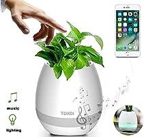 Vaso de Planta Musical Com Sensor Toque Caixa Som Bluetooth e Led Decorativo Recarregavel Branco (bsl-iyh-1)