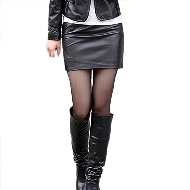 Women Ladies Draped Asymmetric High Waist Party Club PU Leather Bodycon  Mini Split Skirt - - 64379e7e8f35