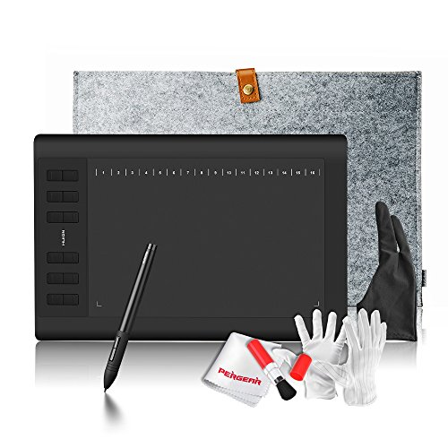 Huion 1060PLUS Built-in Card Reader with 8GB MicroSD Card 12 Express Keys 16 Software Keys Painting Drawing Pen Graphics Tablet + 15 Inches Wool Liner Bag + Glove by Huion