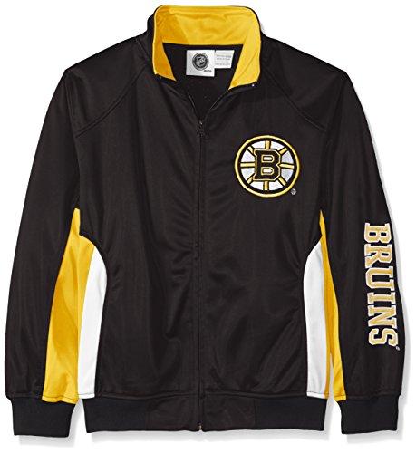 NHL Boston Bruins Tricot Track Jacket with Logo WordMark, Large, Black