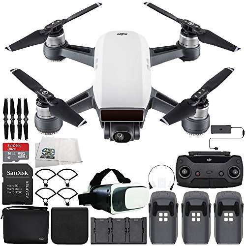 DJI Spark Portable Mini Drone Quadcopter Fly More Combo Virtual Reality Experience VR Ultimate Bundle (Alpine White)