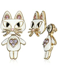 Betsey Johnson Womens Cat Ear Jacket Earrings