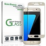 amFilm Galaxy S7 Screen Protector Glass (Full Screen Coverage), Bye-Bye-Bubble Samsung Galaxy S7 Gold Tempered Glass Screen Protector 2016[Gold]
