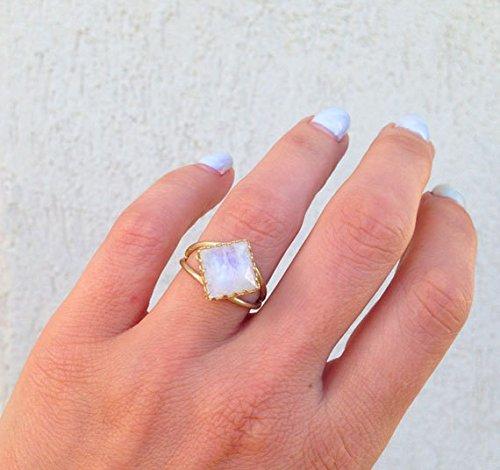 Genuine Moonstone Ring Natural Gemstone Ring Birthstone Ring Reflective Rings June Birthstone Promise Ring Prong Setting Ring