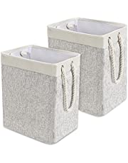 Foldable Laundry Basket with Rope Handles 2 Pack, QooWare Tall Collapsible Linen Laundry Hampers with Detachable Brackets for Dirty Clothes Organizer, Laundry Storage Basket for Bedroom Bathroom Baby Nursery - Light Gray Hamper
