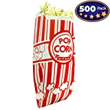 Popcorn Bags Coated for Leak/Tear Resistance. Single Serving 1oz Paper Sleeves in Nostalgic Red/White Design. Great Movie Theme Party Supplies Or for Old Fashioned Carnivals & Fundraisers! (500)