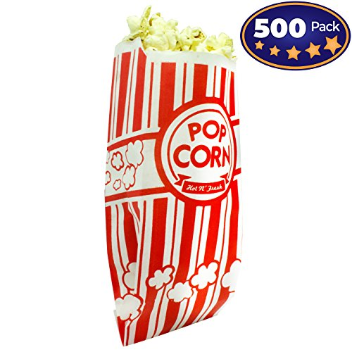 Popcorn Bags Coated for Leak/Tear Resistance. Single Serving