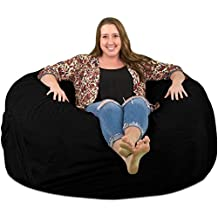 Ultimate Sack 5000 Bean Bag Chair: Giant Foam-Filled Furniture - Machine Washable Covers, Double Stitched Seams, Durable Inner Liner, and 100% Virgin Foam. Comfy Bean Bag Chair. (Black, Suede)