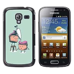 TopCaseStore / la caja del caucho duro de la cubierta de protección de la piel - Funny Cupcakes - Samsung Galaxy Ace 2 I8160 Ace II X S7560M