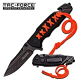 """New! Tac-force Speedster Tactical & Rescue Folding Knife (TF-871) 3.25"""" Stainless Steel Stonewashed Blade, Spring Assisted. Black G10 & Orange Paracord Wrapped Handle. This Knife Has It All, It Includes Pocket Clip, Glass Breaker, Seat Belt / Cord Cutter. This Amazing Knife Feels Great in Your Hand."""