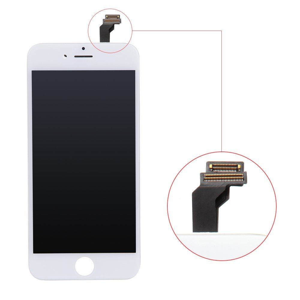 iPhone 6 Screen Replacement White LCD Display Touch Screen Digitizer Frame Assembly Full Set with Free Tools and DRT Professional Glass Screen Protector for iPhone 6 4.7 inches White