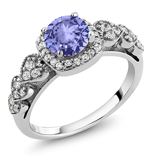 4 Prong Round Gem (925 Sterling Silver Blue Tanzanite Women's Ring (1.22 Ctw Round Gemstone Birthstone Available in size 5, 6, 7, 8, 9))