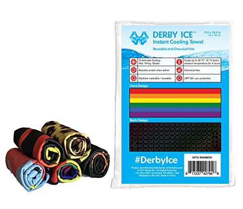 Derby Ice Cooling Towel for Skating, Sports, Workout, Fitness, Gym, Yoga, Pilates, Travel, Camping & More (Rainbow, 40x12 inches)