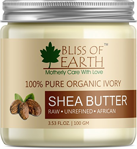 Bliss of Earth™ 100% Pure Organic Ivory Shea Butter   Raw   Unrefined   African   100GM   Great For Face, Skin, Body, Lips, DIY products 