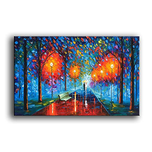 Contemporary Landscape Art - YaSheng Art -Landscape Oil Painting On Canvas Rain Street Tree Lamp Textured Abstract Contemporary Art Wall Paintings Handmade Painting Home Office Decorations Canvas Wall Art Painting 24x36inch