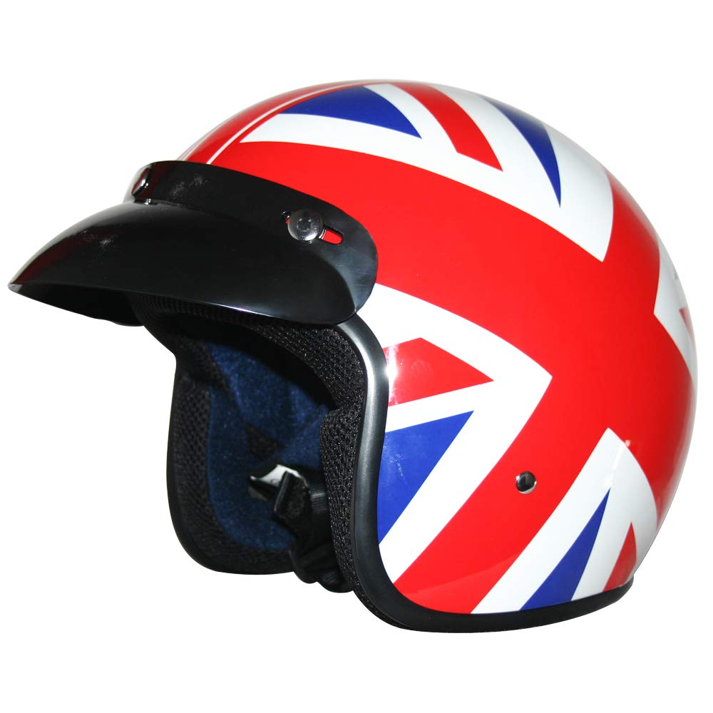 59-60cm Leopard LEO-604 Open Face Motorcycle Motorbike Helmet Road Legal #09 Union Jack L