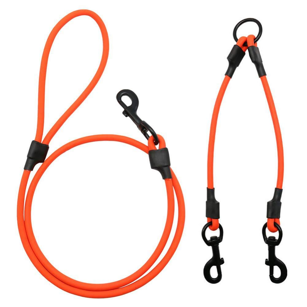 orange S orange S XLGJCWQY Pet Leash Pet Dog Leash Collar Pvc Dragged One Two Dogs Anti-Winding Waterproof Double Chain Leashes Wear-Resistant S L Dog Accessories
