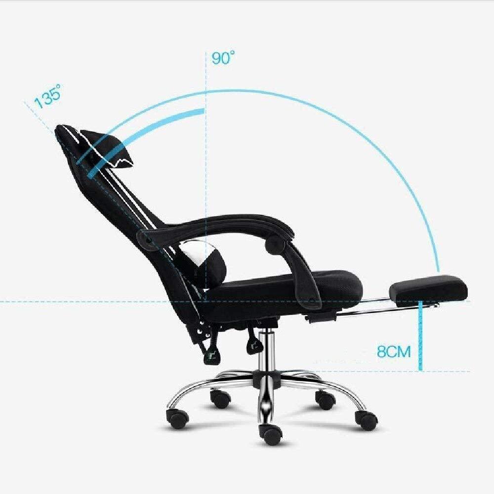 DBL Ergonomisk kontorsstol, hög rygg justerbar nätstol med fotstöd, skrivbordsstol med armstöd ryggstöd skrivbordsstolar (färg: grå) Grått