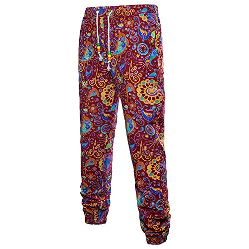 LOG SWIT 3D Floral Printed Linen Pants Men Joggers for sale  Delivered anywhere in Canada