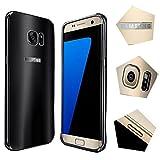 For samsung galaxy s7 Case,JUN-Q® Luxury Air Aluminum Metal Bumper Detachable + Scrub Hard Back Case 2 in 1 protect cover for samsung galaxy s7(Black)