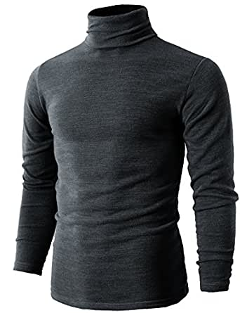 H2H Mens Oversized Fashion Knitted Turtleneck Pullover Sweater Gray US XS/Asia M (KMTTL028)