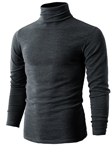 H2H Mens Fashion Thick Cotton Knit Trim Turtleneck Pullover Sweater Gray US 2XL/Asia 5XL (KMTTL028) (Trim Knit Sweater)