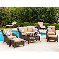Hanover Outdoor Strathmere 6-Piece Lounge Set, Country Cork