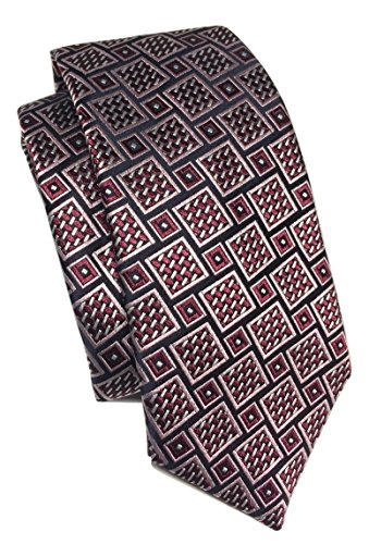 Ermenegildo Zegna Basketweave Geometric Pattern Red Wine Silk - Basketweave Tie