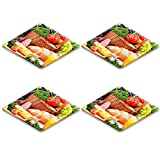 Luxlady Natural Rubber Square Coasters IMAGE ID: 25188406 Composition with assorted organic grocery products