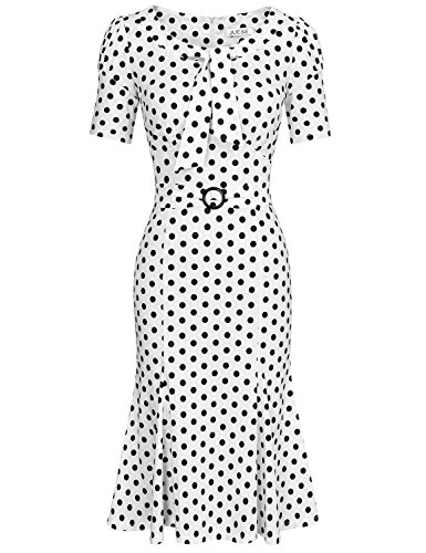 JUESE Women's 50s 60s Formal or Casual Party Pencil Dress (XL,White Black Dot)