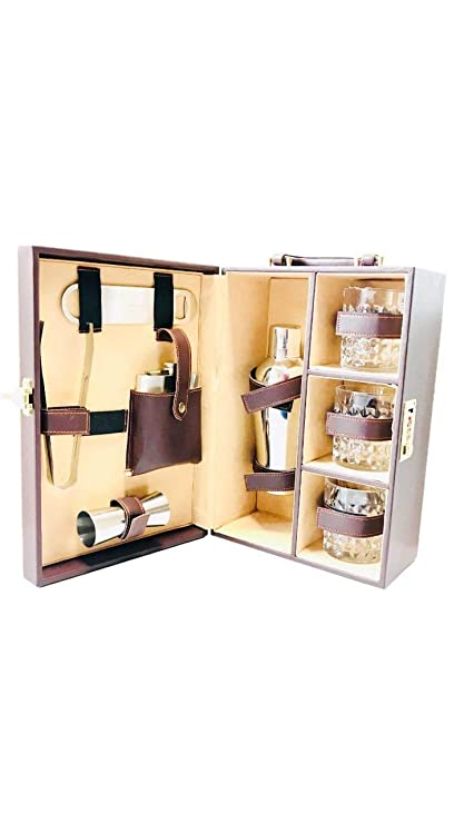 Buy Three Elements Portable Leather Whiskey Bar Suitcase Travel Bar