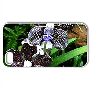 Beautiful tiger orchid - Case Cover for iPhone 4 and 4s (Flowers Series, Watercolor style, White)