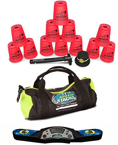 Speed Stacks Custom Combo Set: 12 NEON PINK Cups, Pro Timer 4, Cup Keeper, Quick Release Stem, Gear Bag by Speed Stacks