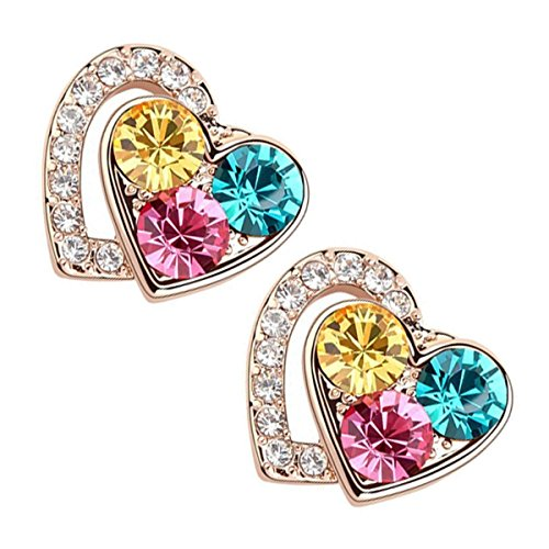 (UPCO 16 x 15MM 18K Yellow Gold Plated Stud Earrings in Shape of Heart Filled with 3 Multi Color Stones)