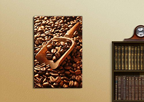 Aromatic Fresh Roasted Coffee Beans with a Wooden Scoop Wall Decor