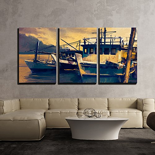 wall26 - 3 Piece Canvas Wall Art - Fishing Boats in Harbor,Old Painting Style - Modern Home Decor Stretched and Framed Ready to Hang - 24