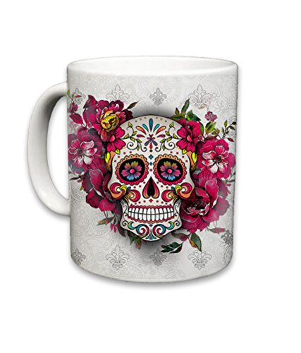 Sweet Gisele   Sugar Skull Ceramic Mug   Floral Print Coffee Cup   Day of the Dead Design   Beautiful Vivid Colors   Great Novelty Gift   White   11 Fl. Oz by Sweet Gisele