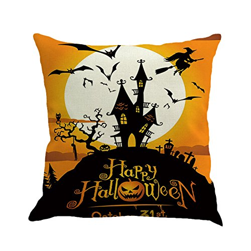 PgojuniHappy Halloween Pillow Cases Linen Square Pillow Cover Decorative Cushion Pillow Cushion Cover 1pc (B)