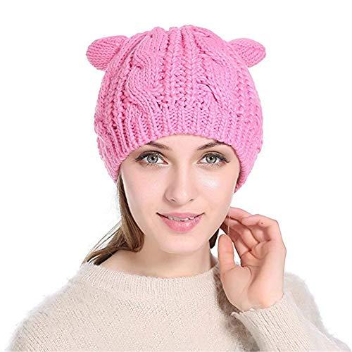 GEANBAYE Soft Fabric Women's Hat Cat Ear Crochet Braided Knit Caps ()