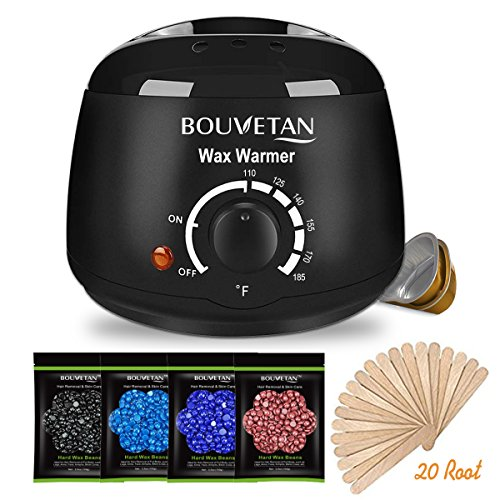 Wax Warmer - Bouvetan Waxing Hair Removal Kit with 4 Hard Wax Beans and 20 Wax Applicator Sticks (At-home Waxing)