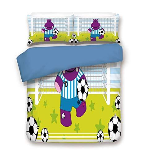 Duvet Cover Set Full Size, Decorative 3 Piece Bedding Set with 2 Pillow Shams,Cute Hippopotamus Soccer Goal Keeper Football Cartoon Print