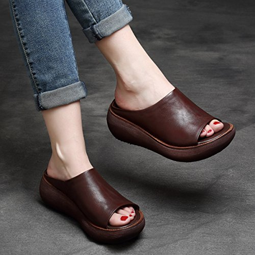 CHNHIRA Women's Summer Leather Wedge Shoes Peep Toe Slippers Brown 2aGG6q05