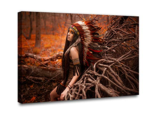 Native American Canvas Wall Art Decor for Living Room A Beautiful Indian Woman in Traditional Dress Painting for Home Decor HD Pictures Gallery-Wrapped 1 Piece Framed Ready to Hang(16''Wx24''H ) ()