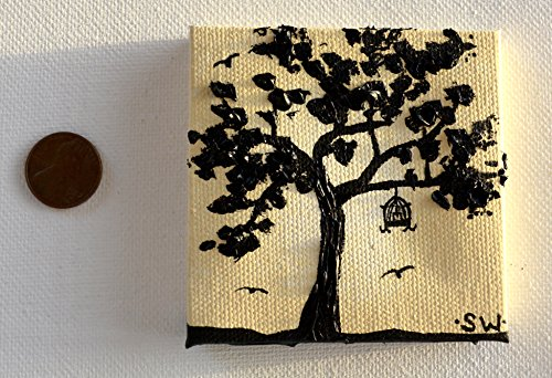 Tiny art, Miniature, Yellow tree silhouette, Miniature Original Oil Painting, Scale Dollhouse, Dollhouse Art, American Girl Doll, 3