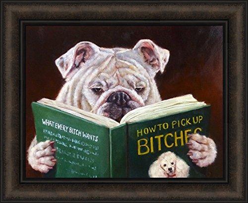 Casanova by Lucia Heffernan 18x22 Humorous Funny Dog Reading Pick Up Bitches Book Framed Art Print -